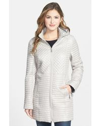 DKNY Quilted Coat With Detachable Hood - Lyst