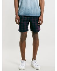 LAC - Navy Check Sport Style Drawcord Shorts - Lyst
