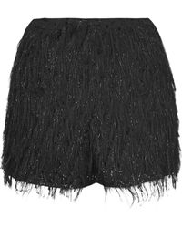 Topshop Womens Sparkle Fringe Shorts  Black - Lyst