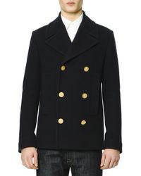 Valentino Felt Golden-button Navy Peacoat - Lyst