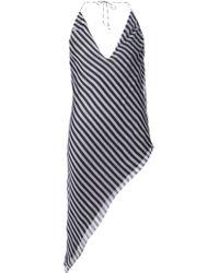 Anthony Vaccarello Striped Asymmetric Dress - Lyst