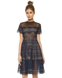 Self-Portrait Felicia Embroidered Sheer Lace Dress - Black