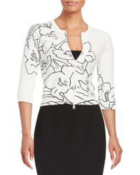 Tracy Reese - Floral Zip-front Cardigan - Lyst