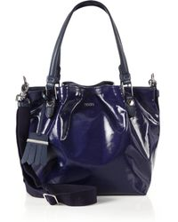 Tod's Flower Mini Coated Canvas Tote blue - Lyst