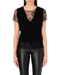 Maje Sheer Lace Insert Crepe Top - Lyst