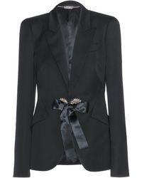 Alexander McQueen Crystalembellished Wool Blazer - Lyst
