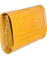 Barneys New York Crocodile Small Clutch orange - Lyst