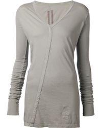DRKSHDW by Rick Owens V-neck Long T-shirt - Lyst