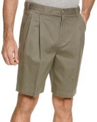 Geoffrey Beene Extender Waist Double Pleat Shorts - Green