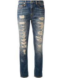 R13 Shredded Slouch Skinny Jeans - Lyst