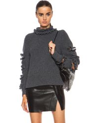 Christopher Kane Frill Chunky Knit Jumper - Lyst