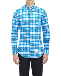 Thom Browne Plaid Oxford Shirt - Lyst