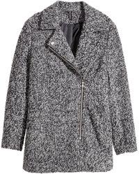 H&M Biker Coat In A Wool Blend - Grey