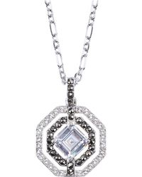 Judith Jack Sterling Silver and Clear Crystal Geometric Pendant Necklace - Lyst