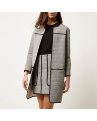 River Island Gray Jersey Trimmed Long Jacket