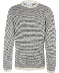 Norse Projects - White Sigfred Stripe Crew Neck Lambswool Blend Jumper - Lyst