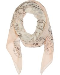 Alexander McQueen Peach Pink and Ivory Chiffon Art Nouveau Skull Shawl - Lyst