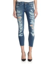 True Religion Cora Destroyed Cropped Skinny Jeans blue - Lyst