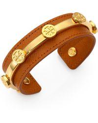 Tory Burch Leather Logo Cuff Bracelet - Lyst