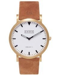 Shore Projects - Portland White Dial Tan Strap Watch - Lyst