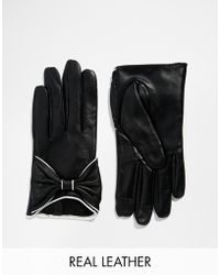 Asos Leather Gloves With Piped Bow black - Lyst