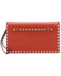Valentino English Red Leather 'Rockstud' Accent Wristlet Clutch - Lyst