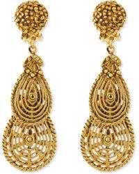 Jose & Maria Barrera 24K Plated Filigree Petal Clip-On Earrings - Lyst
