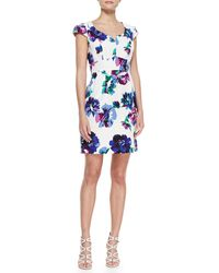 Shoshanna Evan Cap-sleeve Floral-print Dress - Lyst