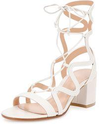 Gianvito Rossi Metallic Loop-caged Gladiator Sandal - White