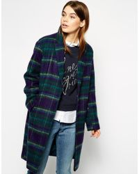 Asos Cocoon Coat in Brushed Check - Lyst