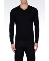 Armani Wool Knit With V Neck - Lyst