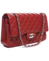 Chanel Pre-owned Red Lambskin Medium Double Flap Bag - Lyst