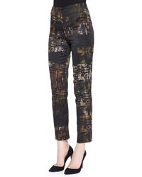 Donna Karan New York Slim Abstract Printed Pants - Lyst