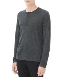 Sandro Low Henley Sweater - Gray