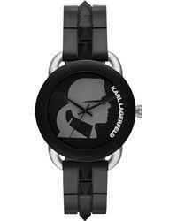 Karl Lagerfeld Unisex Karl Pop Black Rubber Spiked Strap Watch 40mm - Lyst