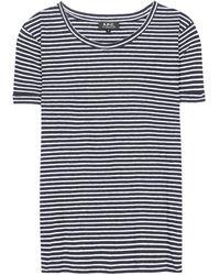 A.P.C. Striped Cotton And Linen-Blend T-Shirt - Black