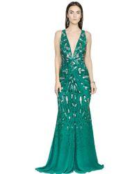 Roberto Cavalli Embroidered Silk Chiffon Dress - Lyst