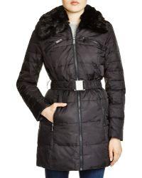 DKNY Faux Fur Trim Belted Puffer Coat - Black