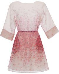 Blumarine Pink Petal Print Organza Dress - Lyst