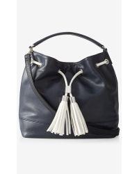 Express Top Handle Bucket Bag - Blue