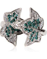 Alexander McQueen Ivy Swarovski Crystal Double Finger Ring - Lyst