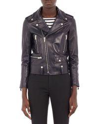 Saint Laurent Leather Moto Jacket - Lyst