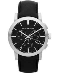 Burberry Mens Chronograph Watch With Black Leather Strap
