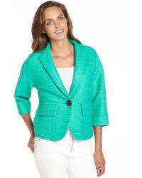Nanette Lepore Clove Green Textured Cotton Blend Raffia Blazer - Lyst