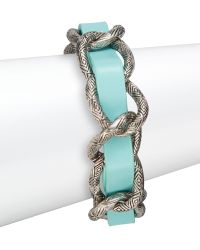 House of Harlow 1960 Engraved Link Leather Bracelet/silvertone - Blue