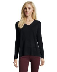 Vince Black Cashmere Knit Double Trim V-Neck Sweater - Lyst