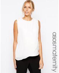 Asos Maternity Shell Top With Sheer Drape - Lyst