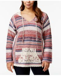 American Rag - Plus Size Printed V-neck Hooded Sweater, Only At Macy's - Lyst