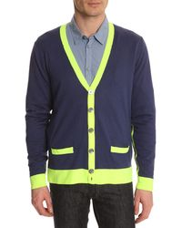 Marc By Marc Jacobs Silk Cotton Blue Cardigan - Lyst