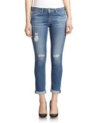 AG Adriano Goldschmied Stilt Distressed Roll-Up Jeans - Lyst